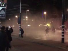 Police unleash water cannon on Turkish protesters in Netherlands