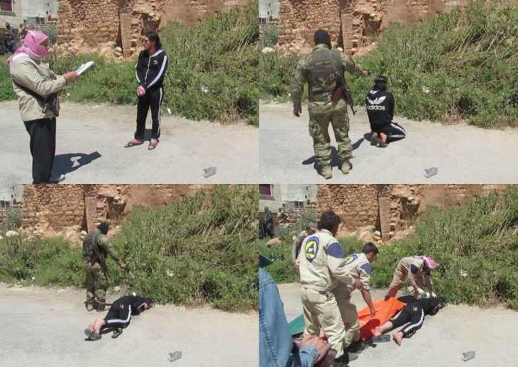 Execution attended by White Helmets, where they performed a mop-up operation for Nusra Front fighters in Haritan, North Aleppo, Syria, May, 2015. (Image: Vanessa Beeley)