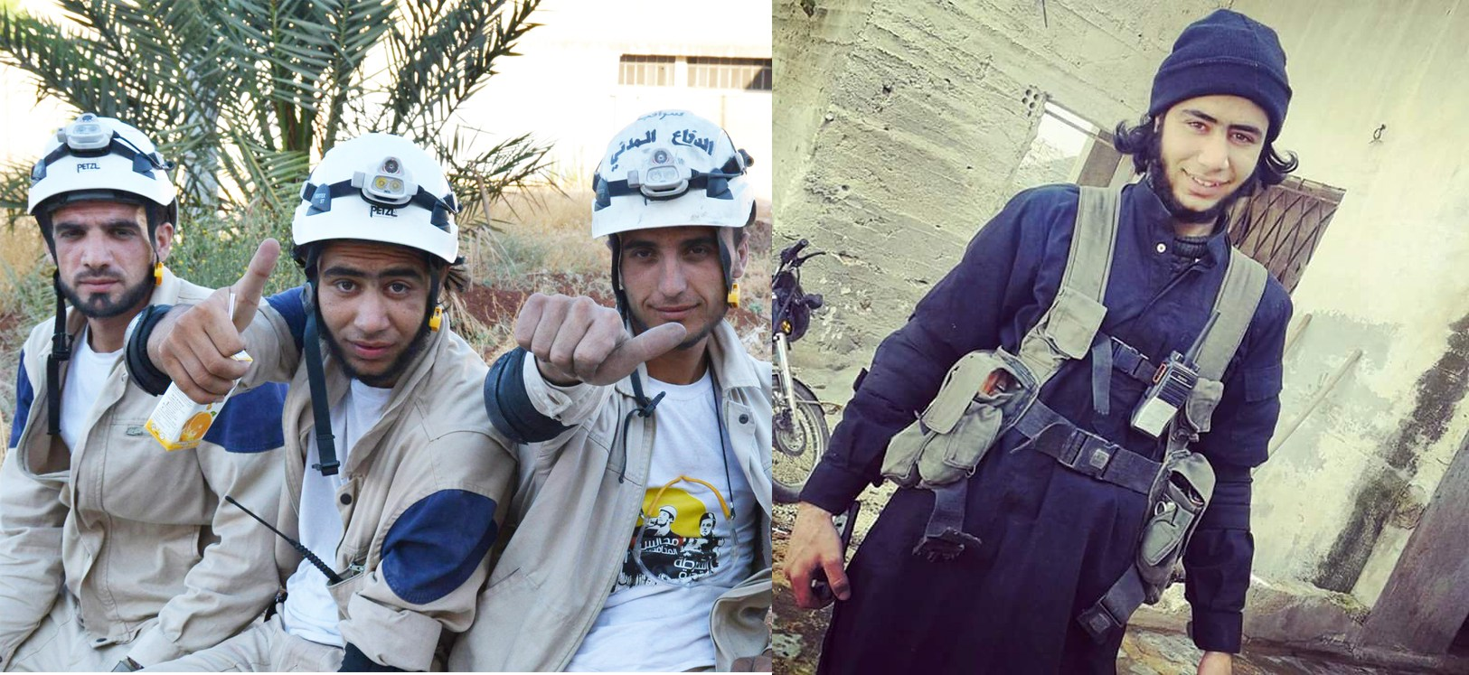 Mo'ad Baresh in his dual role as White Helmets operative and Nusra Front-associated extremist. (Photo: Clarity of Signal/21st Century Wire)