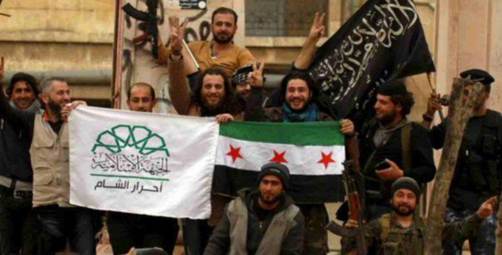 Free Syrian Army members with Ahrar Al Sham and Jabhat Fateh Al Sham.